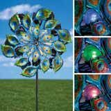 Magnificent Peacock Solar Wind Spinner