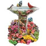 Birdbath Garden 750 Piece Shaped Jigsaw Puzzle