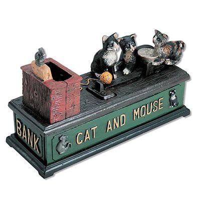 Money In The Kitty Cast-Iron Mechanical Bank