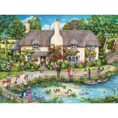 Cottage By The River 1000 Piece Jigsaw Puzzle Bits And