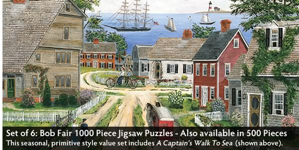 Set of 6: Bob Fair 1000 Piece Jigsaw Puzzles
