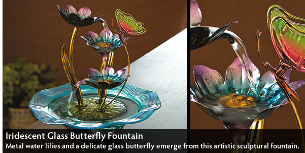 Iridescent Glass Butterfly Fountain